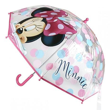 Paraguas tipo bastón infantil burbuja Minnie