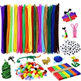 M-Aimee 910 Pieces Pipe Cleaners Set, Including 360 Pcs 20 Colors Chenille Stems with Smooth Processing at Both Ends, 300 Pieces 4 Size Wiggle Googly Eyes, 200 Pieces Pom Poms and 50 Pieces Craft Sticks