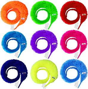 ONESING 50 Pcs Magic Worms Toys Fuzzy Worm on A String Wiggly Worms Silly String Twisty Trick Toys for Carnival Kid Party Favors (10 Color)