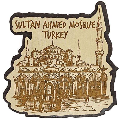Sultan Mosque Ahmed (Printtoo Sultan Ahmed Mosque Turkey Souvenir Engraved Wooden Fridge Magnet)