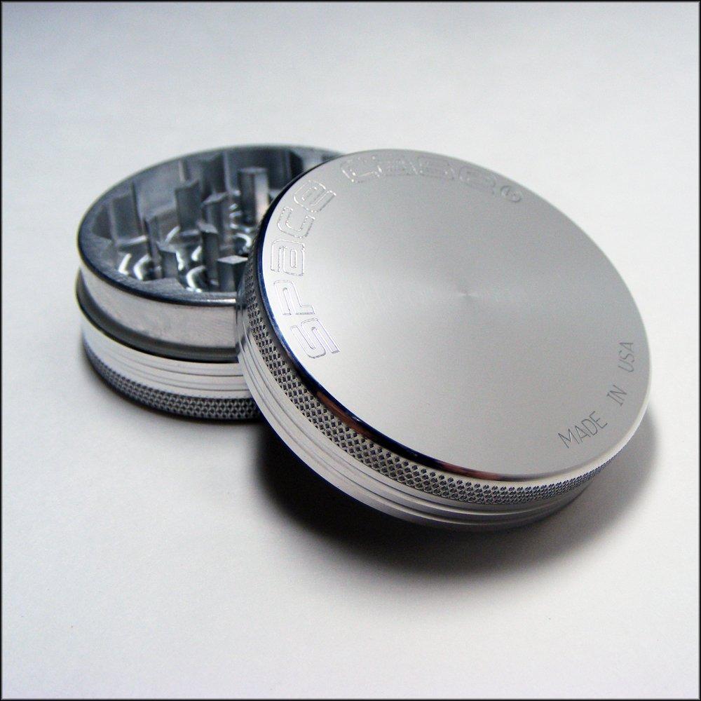 Small Space Case® Aluminum Grinder 2 Piece Magnetic Top + Cali Crusher® Pollen Press (SCM-2(S)+CCP)