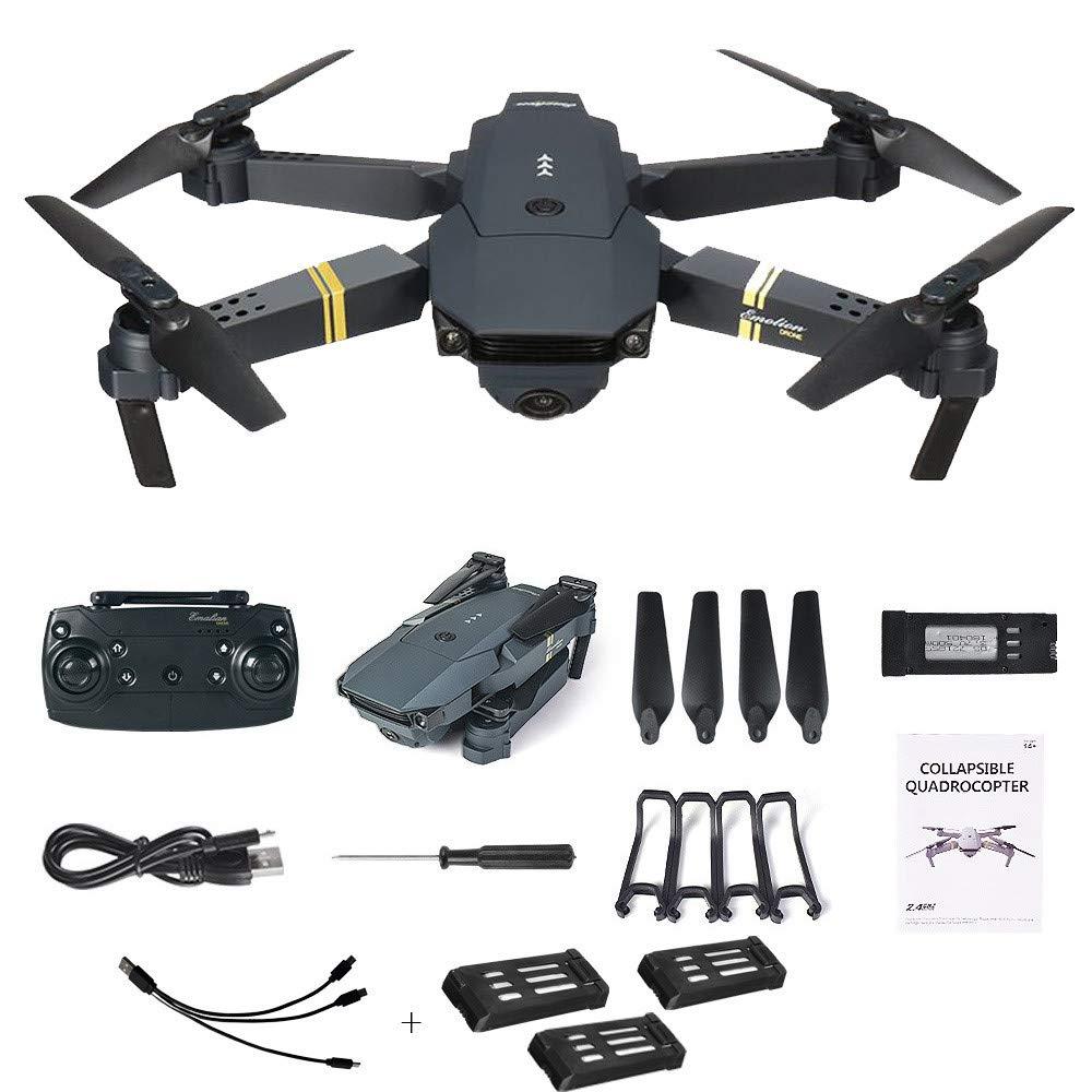 Kingko® 720P Drohne E58 2MP mit 720P Kamera WiFi FPV Faltbarer Selfie-Drohne RC Quadcopter RTF + 1 Kabel und 3 Batterien 4ch Kanal R / C Abstand: 80-100m (Schwarz)