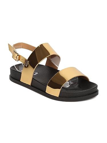 e1a312c376650 Amazon.com   Cape Robbin Women Metallic Leatherette Open Toe Double ...