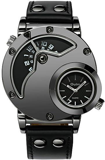Relojes Hombre Dial Grande Relojes Militar Deportivo Impermeable Analógico Cuarzo de Dual Tiempo Diseño Unico Reloj Grandes de Pulsera Marea Resistente a ...