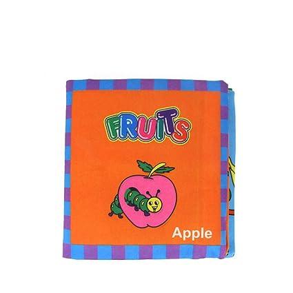 YeahiBaby Libros Blandos para Bebés Aprendizaje y Educación Libros Juguete (Frutas)
