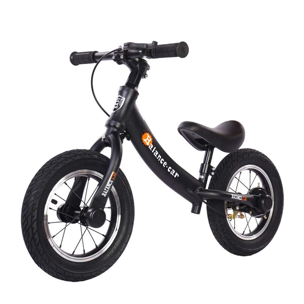 Bicicletta Senza Pedali Bici a pedalata Senza Pedali, Bicicletta per Allenamento a Piedi bilanciata in Lega di Alluminio per Bambini e Bambini, Giallo Blu Rosso Nero (colore   Nero)