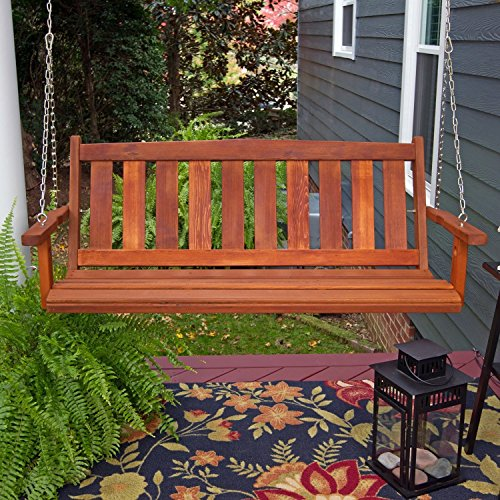 Porchgate Amish Made Mission Red Cedar Porch Swing (4 (Western Red Cedar Swing)