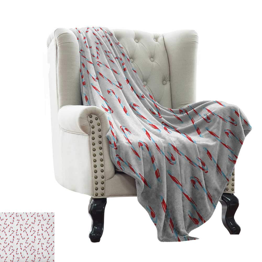 color06 60 x62  Inch BelleAckerman Cool Blanket Candy Cane,Cute Christmas Boy and Girl Penguins with Scarf Hats Traditional Holly Berries, Multicolor Microfiber All Season Blanket for Bed or Couch 50 x60