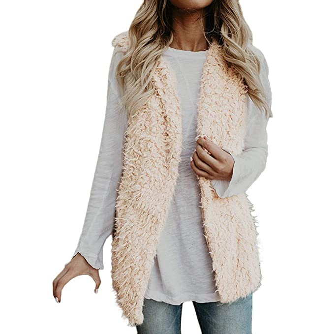 377a779bb33 Lazzboy Womens Coat Jacket Gilet Warm Faux Fur Fluffy Solid Dual Pocket Sleeveless  Ladies Outerwear Vest Waistcoat  Amazon.co.uk  Clothing