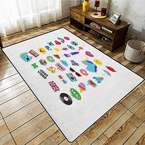 Kids Rug,Emoji,Pop Culture Elements Good Vibes Ice Cream Rocket Donut Star Cartoon Style Drawing,Ideal Gift for Children,4'11