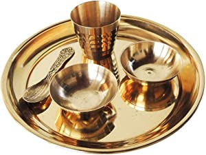WorldOfIndianArt Presents Brass Pooja Bal Bhog Thali Plate Set for Home Temple Decor Gold Small 11cm