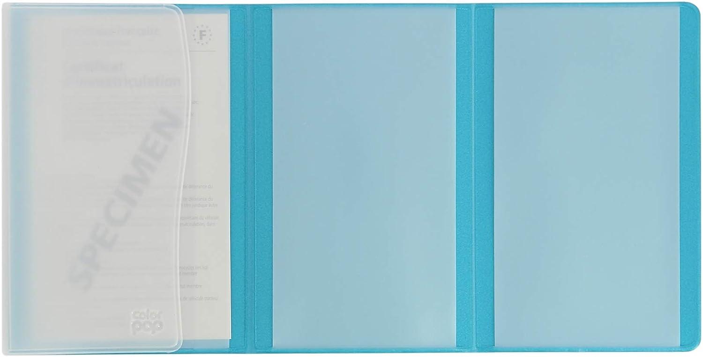 Color Pop /Étui pour Papiers de V/éhicule : Carte Grise Assurance Permis de Conduire Bleu