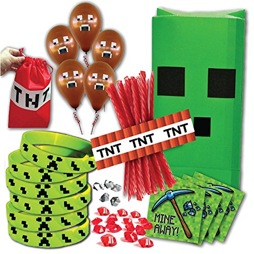 Mining Birthday Party Favor Pack for 14 Guests (Includes favor bags, wristbands, stickers, red stones, balloons & TNT licorice wrappers for 14 guests and Bonus TNT bag for birthday child) (Minecraft Party Bags)
