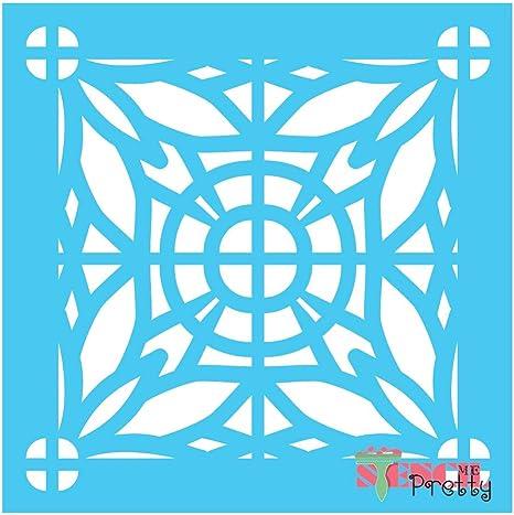 "XS Mediterranean Spanish Tile Allover Continuous Pattern Stencil 9/"" x 9/"""