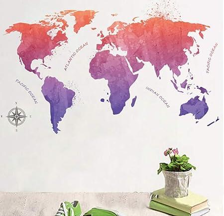 ZBYLL Pegatinas De Pared Mapa del Mundo Colorido Salón Dormitorio Decoraciones De Adesivos Parede DIY Adhesivo Inicio Mapa Placa Global Arte Mural: Amazon.es: Hogar