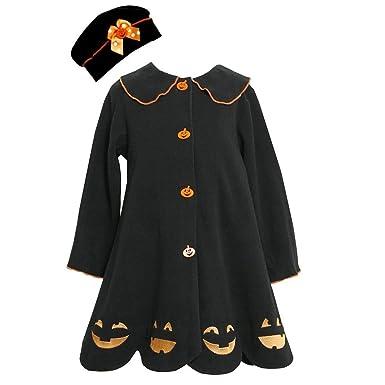 Bonnie Jean Girls Jack-O-Lantern Halloween Fall Winter Coat & Hat,