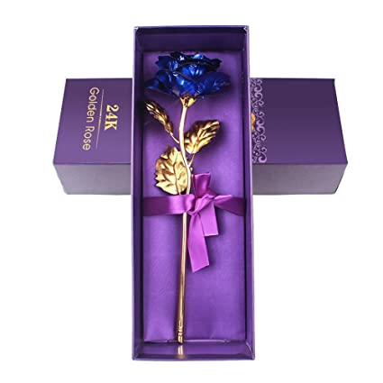 Aerwo Love Forever Long Stem 24k Gold Foil Trim Blue Rose Flower