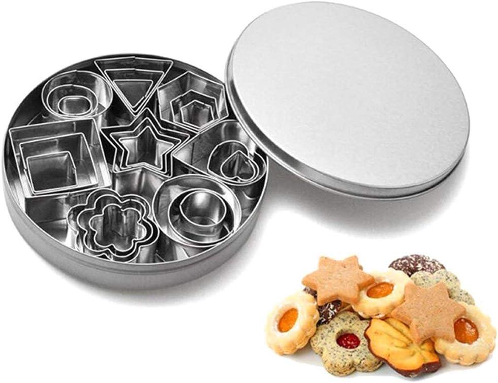 YZCX Cortadores de Galletas Moldes para Galletas Cortador Acero Inoxidable para Fondant Pasteles (Mini 24 Piezas+ Caja de Hierro)