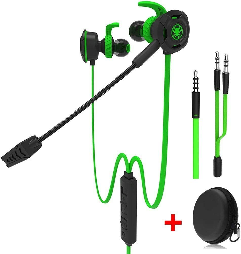 Wired E-Sport Earphone Adjustable Mic PS4, Laptop Computer, Cellphone so on, 3.5mm Wired Earburds Snug Soft Design, Inline Controls Hands-Free Calling (Green)