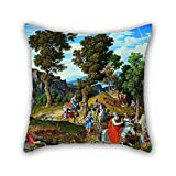 beautifulseason oil painting Joseph Anton Koch - Serpentara Landscape with the Procession of the Magi pillow cases 18 x 18 inches / 45 by 45 cm for boys,couples,relatives,kitchen,outdoor,adults wit