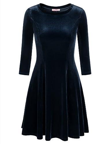 Slivexy -  Vestito  - Tunica - Basic - Collo a U  - Maniche lunghe  - Donna Blau Small