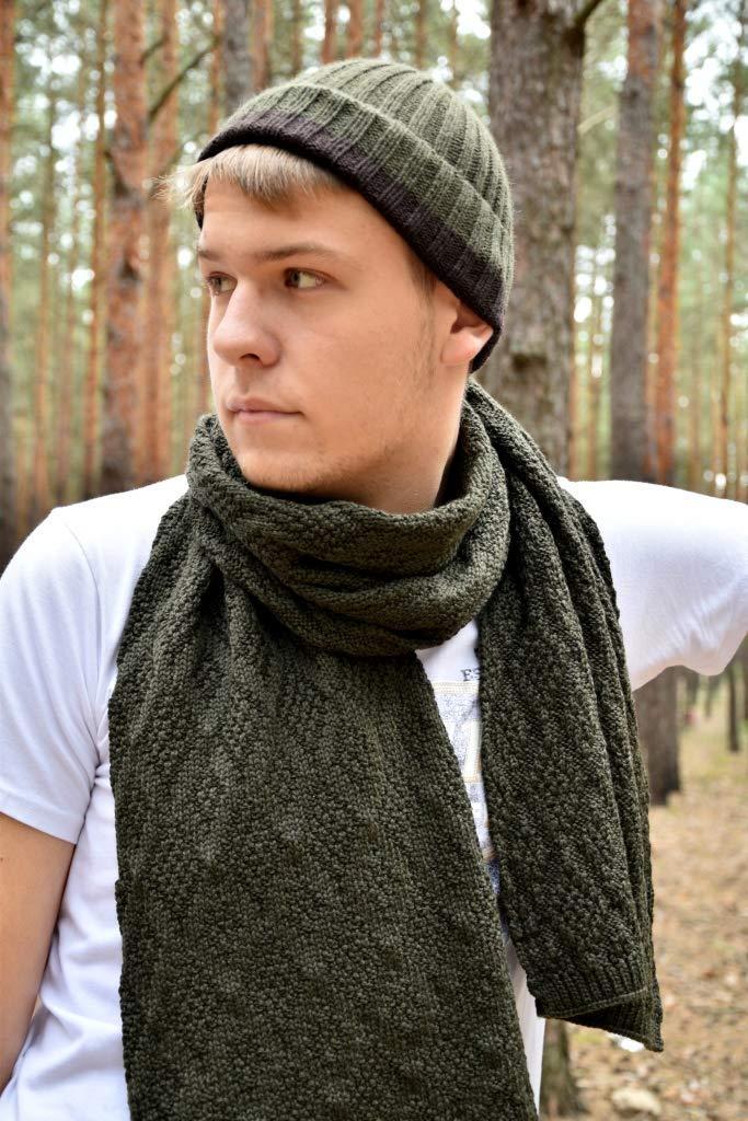 d314663323a Amazon.com  set dark khaki merino wool knitted scarf and hat