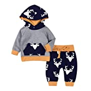 2PCs Baby Deer Print Hoodies with Pocket Top + Long Pants Autumn Outfit Set (0-6M(Tag70), Grey&Yellow)