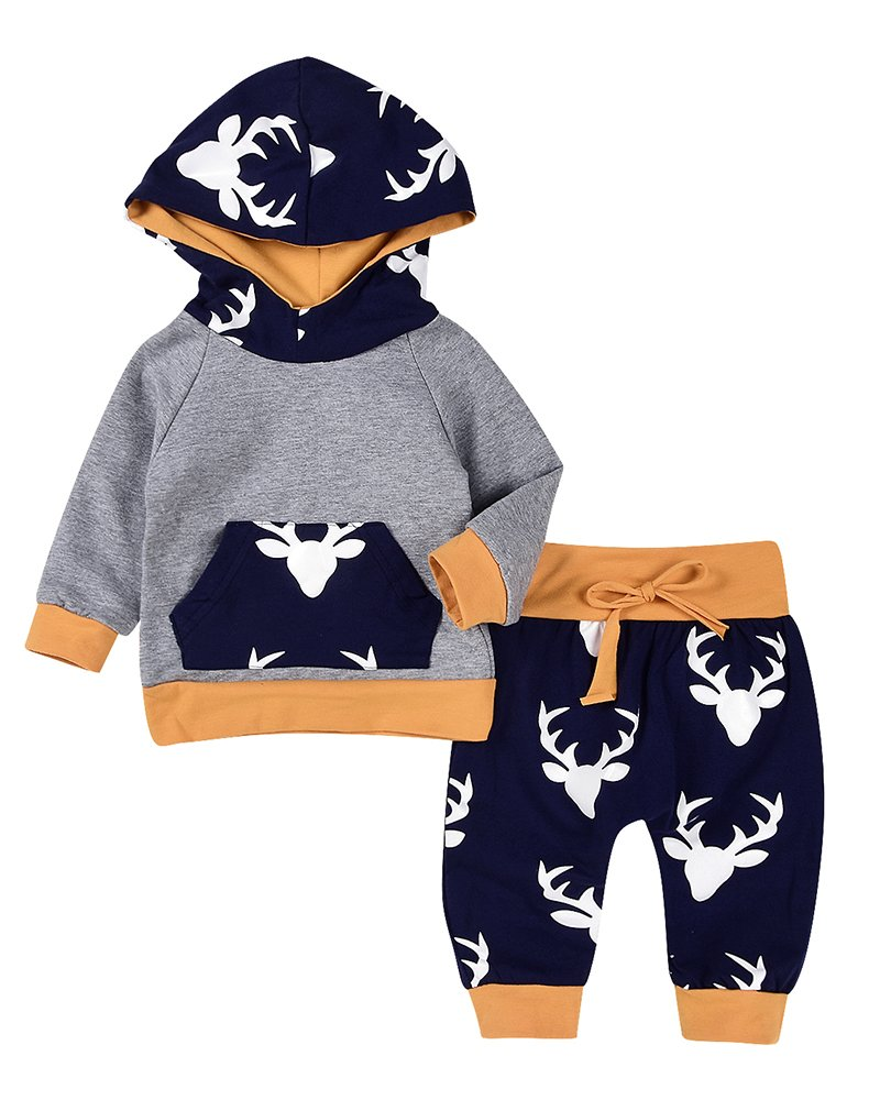 2PCs Baby Deer Print Hoodies With Pocket Top + Long Pants Autumn Outfit Set (0-6M(Tag70), Grey&Yellow)