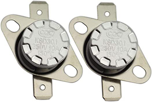 2Pcs KSD301 N.C 100°C Thermostat Temperature Thermal Control Switch 10A AC 250V