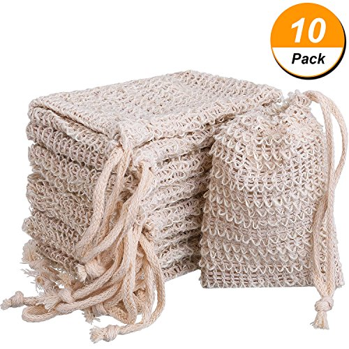 BBTO 10 Pack Exfoliating Natural Sisal Soap Bag Pouch Soap Saver - Soap Pouch