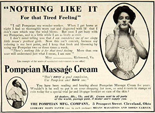 1909 Ad Pompeian Massage Cream Health Beauty Edwardian Era Cosmetic Makeup YSC1 - Original Print Ad from PeriodPaper LLC-Collectible Original Print Archive
