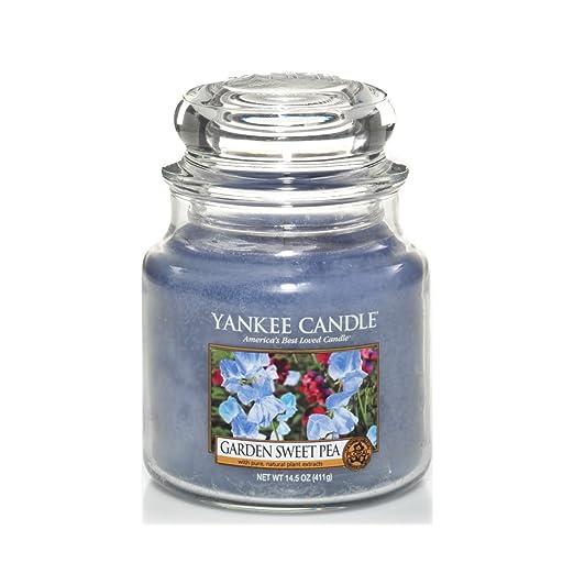 9 opinioni per Yankee candle 1152870E Garden Sweet Pea Candele in giara media, Vetro, Blu,