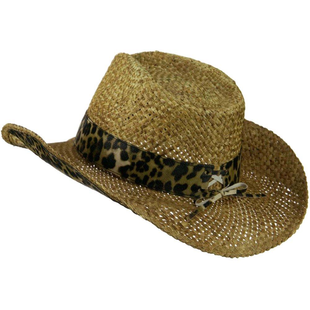 Cheetah W35S13E Womans Cheetah Leatherette Band Cowboy Hat