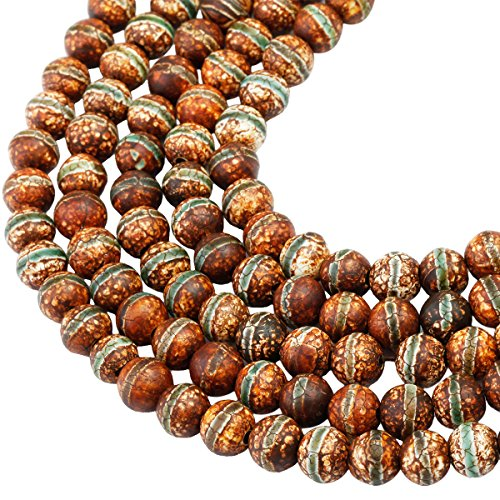 SUNYIK Vintage Brown/Green Mixed Striped Agate Loose Bead Stone for Jewelry Making 8mm Round -