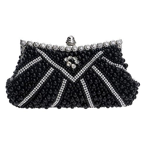 fb07f57ea1a0 Luckywe Womens Wallet Evening Pearl Diamond Designer Handbag Clutch Purse  A65 Black  Amazon.ca  Shoes   Handbags