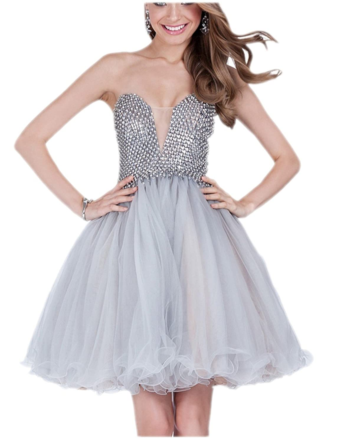 A-line Organza Girls Homecoming Dresses Beaded Bodice Short Party Gowns