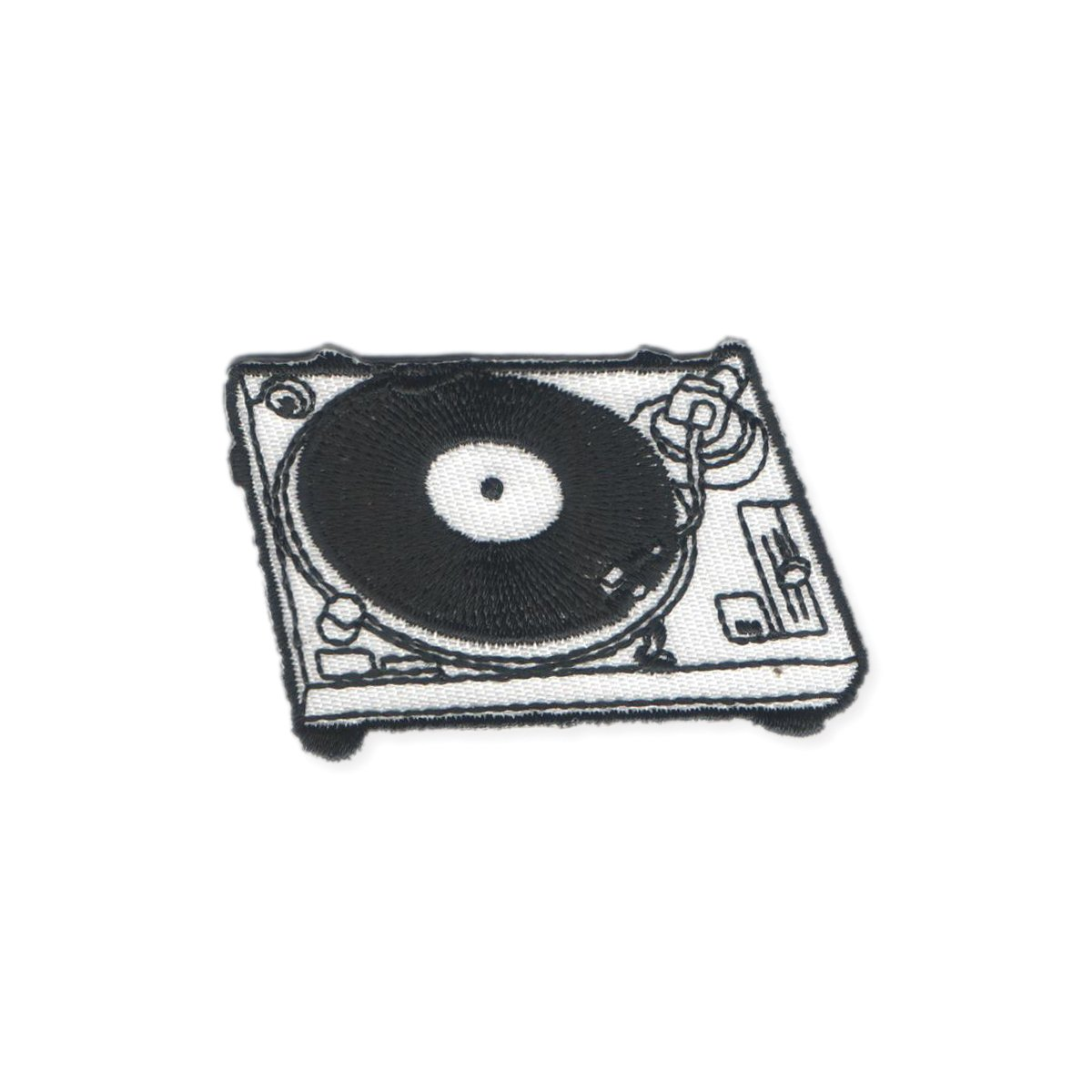 Zad Retro DJ Turntable Embroidered Iron On Patch Applique Black