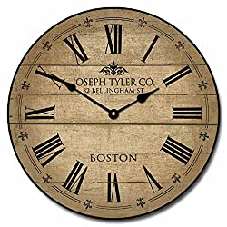Barnwood Tan Wall Clock, Available in 8 Sizes, Most Sizes Ship 2-3 Days, Whisper Quiet.
