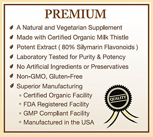 Certified Organic Milk Thistle Extract 80 Silymarin Flavonoids Plus Turmeric – 120 Capsules