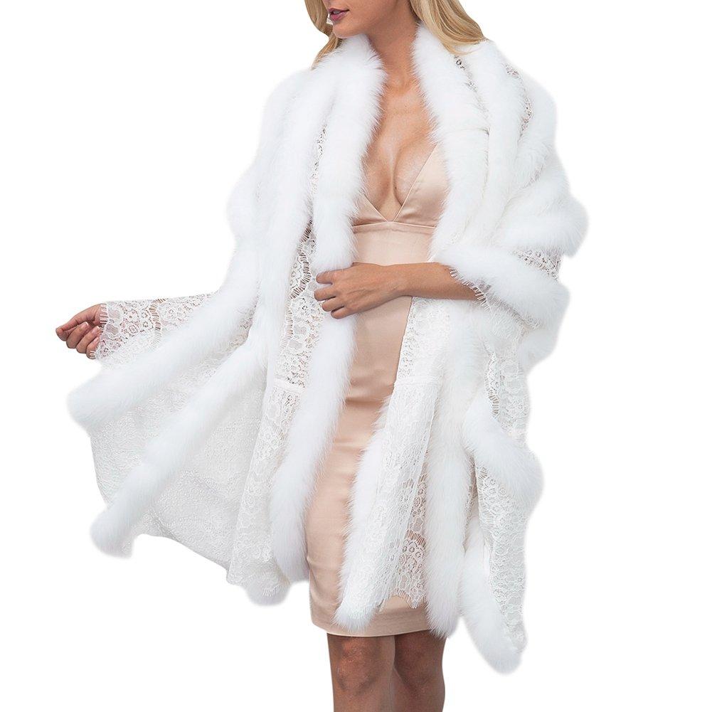 Zwingtonseas Women's Lace Faux Fur Cloak Shawl Wrap Cape Stole Bolero Jacket Coat Shrug
