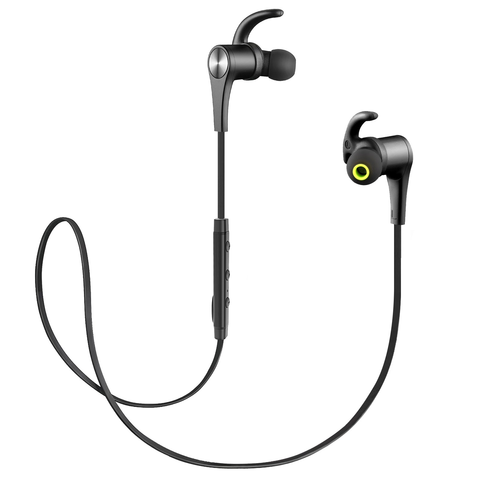SoundPEATS Bluetooth Headphones Magnetic In-Ear Wireless Earbuds 4.1 Stereo Bluetooth Earphones for Sports Running With Mic (8 Hours Play Time, Hands-Free Calls, In-Line Control) - New Black