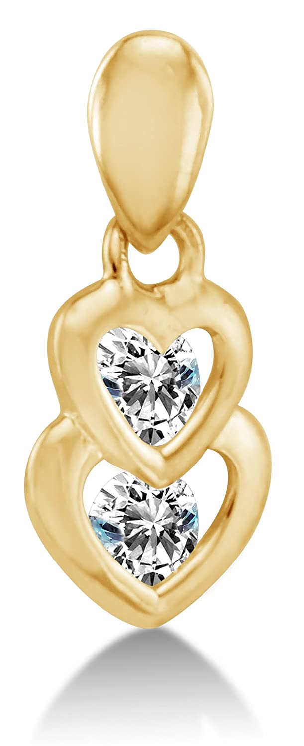 """14K Yellow Gold Two Connected Love Hearts Highest Quality Round Shape Brilliant Cut CZ Cubic Zirconia Ladies Pendant Charm (Height = 3/8"""" , Width = 1/4"""")"""