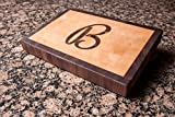 Chopping Blox Personalized end grain cutting board maple with walnut letter and border. SIXD-MXX