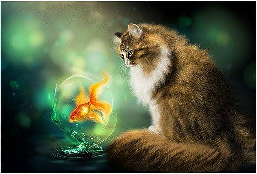 Puzzle Gatos Colección-Gato y Goldfish del Rompecabezas de ...