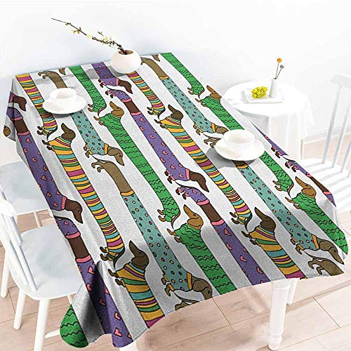 familytaste Dog Lover,Rectangle Oblong Table Cartoon Style Dachshunds Dressed in Pyjamas Chevron Lines Polka Dots and Hearts 70