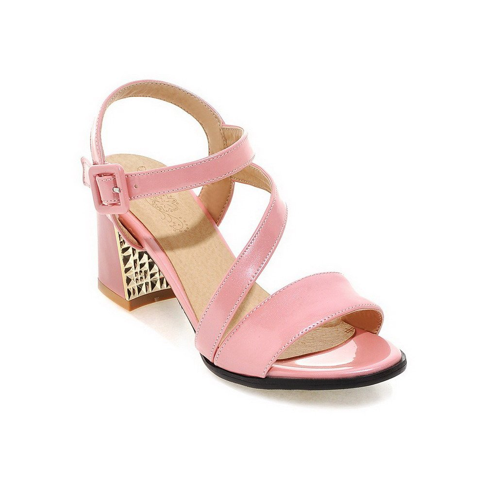 AllhqFashion Women's Open Toe Kitten-Heels Patent Leather Solid Buckle Sandals, Pink, 40 by AllhqFashion