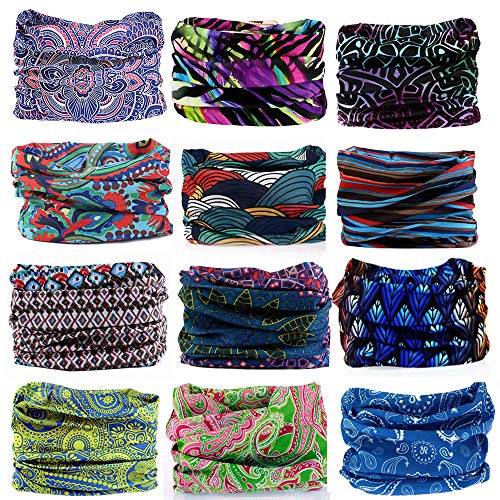 - KALILY 12PCS Headband Bandana - Versatile Sports Headwear -Multifunctional Seamless Neck Gaiter, Headwrap, Balaclava, Helmet Liner, Face Mask for Camping, Running, Cycling (12PCS- B Set)