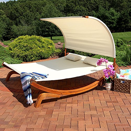 Sunnydaze Natural Colored Outdoor Double Wooden Lounger with (Colored Canopy)