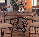 Slate Insert Top w/Antique Brown Metal Base Round Dining Table