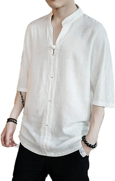 GHGJU Camisas para Hombres Camisetas Sin Mangas Sueltas Camisetas Botones De Discos Retro Camisetas De Manga Corta De Algodón: Amazon.es: Ropa y accesorios